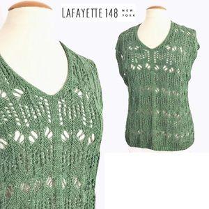 Lafayette 148 New York Crochet Knit Top M